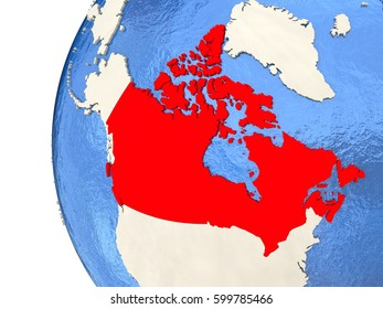 Map of Canada on globe with watery blue oceans and landmass with visible country borders. 3D illustration