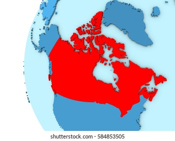 Map of Canada on simple blue. 3D illustration