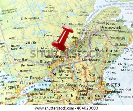 Ottawa On Map Of Canada.Map Canada Pin Set On Ottawa Stock Photo Edit Now 404020003