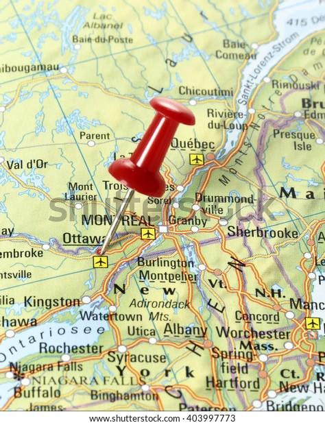Ottawa On Map Of Canada.Map Canada Pin Set On Ottawa Stock Photo Edit Now 403997773