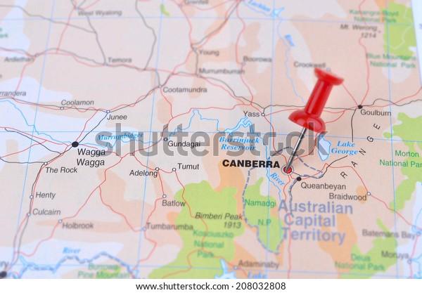 Canberra Australia Map.Map Canberra Australia Stock Photo Edit Now 208032808