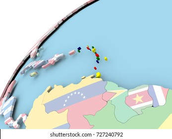 Map of Caribbean on political globe with embedded flag. 3D illustration.