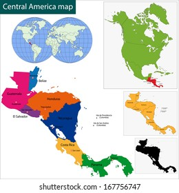 Map of Central America map with country borders