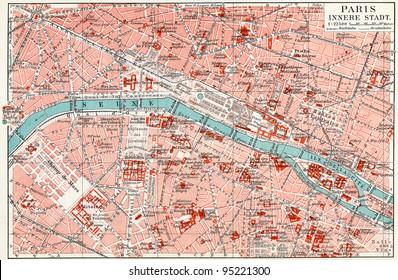 "Map of central Paris. Publication of the book ""Meyers Konversations-Lexikon"", Volume 7, Leipzig, Germany, 1910"