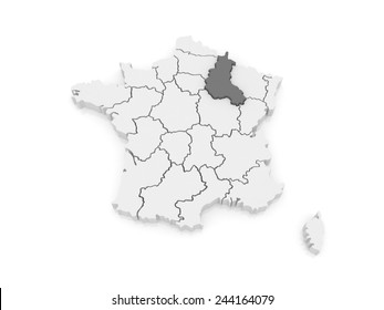 Map of Champagne - Ardennes. France. 3d