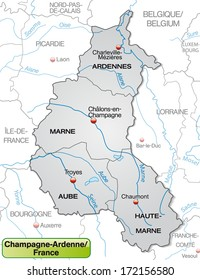 map of champagne ardenne with borders in gray