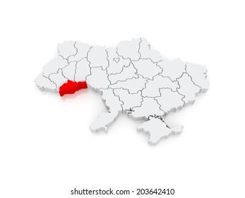 Map of Chernivtsi region. Ukraine. 3d