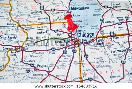 Map Chicago IL Red Push Pin Stockfoto (Jetzt bearbeiten) 154633916 ...
