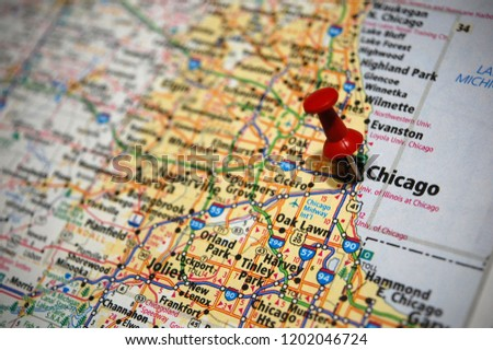 Map Chicago Illinois Marked Push Pin Stock Photo Edit Now