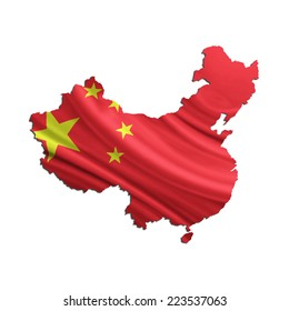 Map of China and Chinese flag
