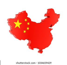 Map of China Isolated. 3D rendering