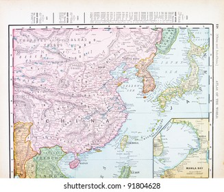 A map of China, Korea, and Japan from Spofford's Atlas of the World, printed in the United States in 1900, created by Rand McNally & Co.