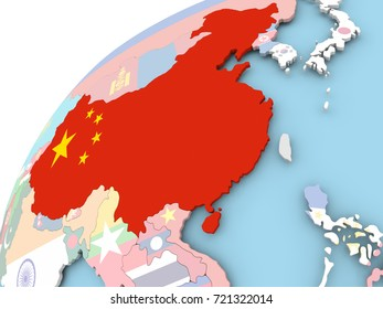 Map of China on political globe with embedded flag. 3D illustration.