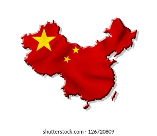 Map of China with waving flag isolated on white background