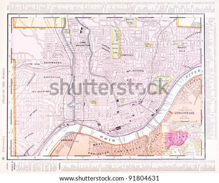 Us Map Cincinnati.Map Cincinnati Ohio Usa Spoffords Atlas Stock Photo Edit Now