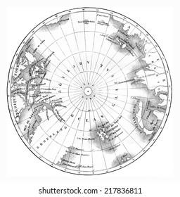 Map circumpolar regions of northern hemisphere. vintage engraved illustration. Le Tour du Monde, Travel Journal, (1865).