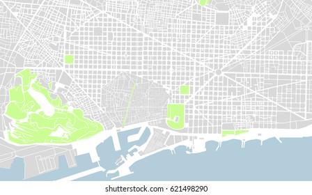 map of the city center of Barcelona, Spain atalonia