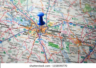 A map of Columbia,South Carolina marked with a push pin.