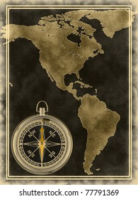 A map with a compass North and South America on the old background