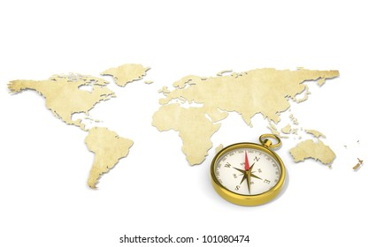 Map and Compass. A World Map in 3D. Paper Shape, thin and Antique style.  Brass Compass.
