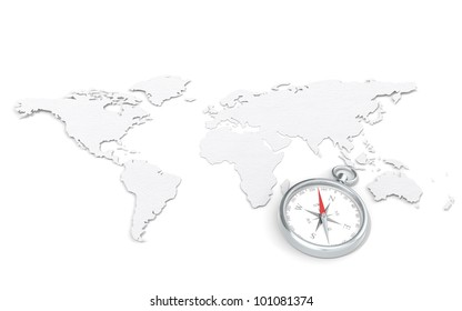 Map and Compass. World Map in 3D. Paper Texture.  Steel Compass.