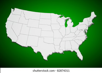 Map of the continental United States green background.