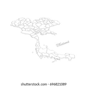 map with contour - Thailand.