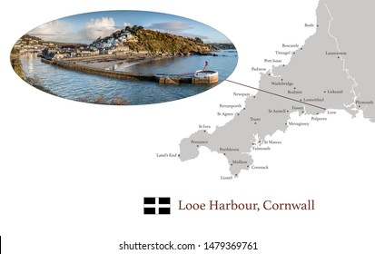 Map of Cornwall, featuring photographic image of Looe Harbour,  and key towns in Cornwall marked on map.