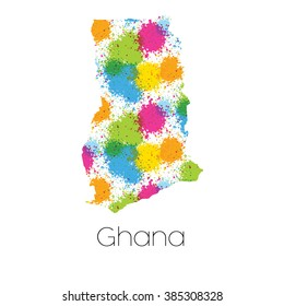 A Map of the country of Ghana