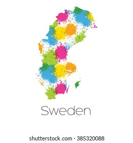 A Map of the country of Sweden