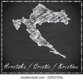 Map of Croatia as chalkboard  in Black and White