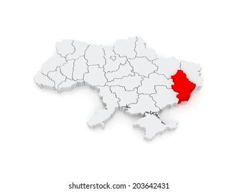 Map of Donetsk region. Ukraine. 3d