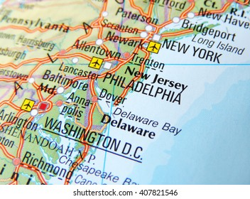 Map of the East Coast of the USA with focus on New York and Washington D.C.