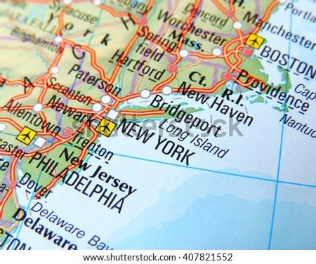 Map East Coast USA Focus On Stock Photo (Edit Now) 407821552 ...