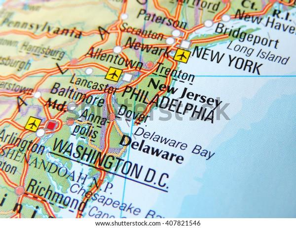Karte Der Ostkuste Der Usa Mit Stockfoto Jetzt Bearbeiten
