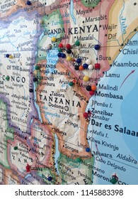Map of eastern Africa with small dots. Travel inspiration.