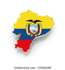 Map of Ecuador. 3d
