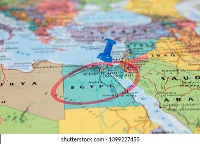 Karte Ägyptens mit roten Kreismarkierungen