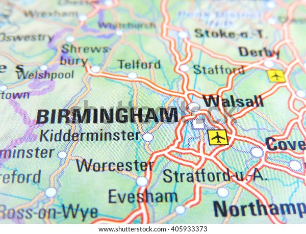 Map Of England Birmingham.Map England Focus On Birmingham Stock Photo Edit Now 405933373