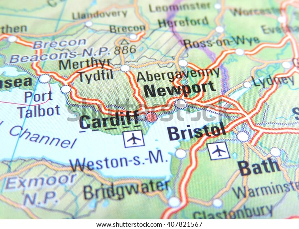 Bristol On The Map Of England.Map England Focus On Cardiff Bristol Stock Photo Edit Now 407821567