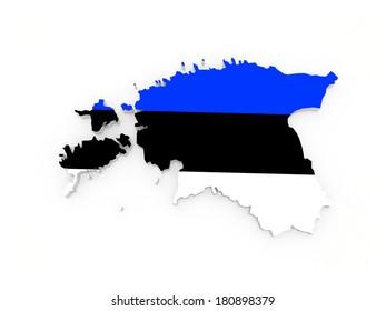 Map of Estonia. 3d