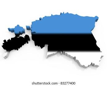 Map of Estonia with flag Republic of Estonia