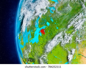 Map of Estonia as seen from space on planet Earth with clouds and atmosphere. 3D illustration. Elements of this image furnished by NASA.