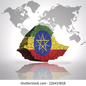 Map of Ethiopia with Ethiopian Flag on a world map background