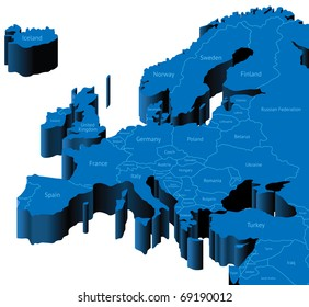 Map of Europe with national borders and country names. Raster version. Vector version is also available.