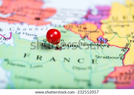 Paris On Map Of Europe.Map Europe Round Red Push Pin Stock Photo Edit Now 232552057