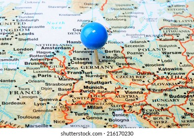 Map Europe Showing Germany Blue Tack Stock Photo (Edit Now ...