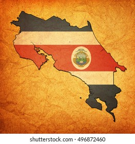 map with flag of costa rica with national borders