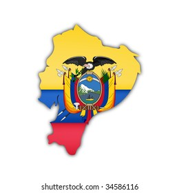 map and flag of ecuador with shadow on white background