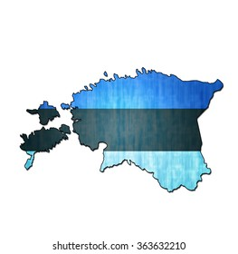 map with flag of estonia with national borders